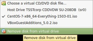 Devices->CD/DVD Devices -> Remove Disk From Virtual Drives