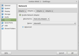 Click on Adapter 2 and select attached to Host Only
