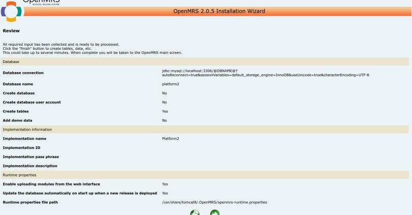 Final OpenMRS Installation Wizard Screen