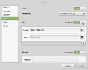 Network Preferences - IPv4 selection