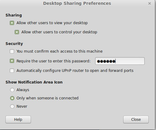 Remote Desktop Sharing Preferences