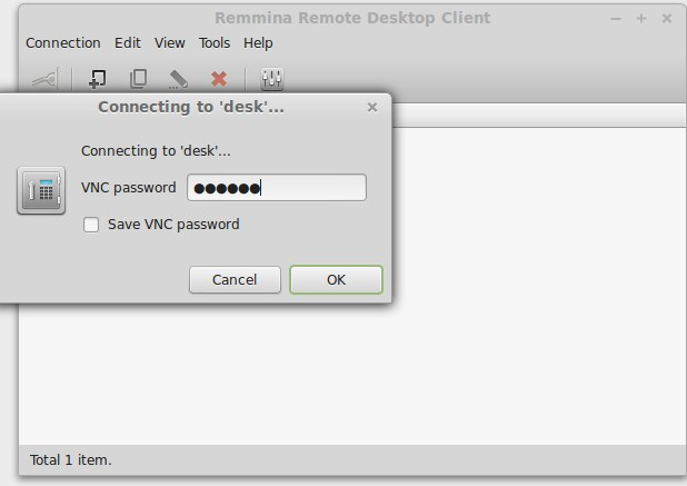 Enter desktop sharing password