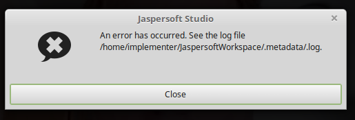 Jasper Studio metadata error